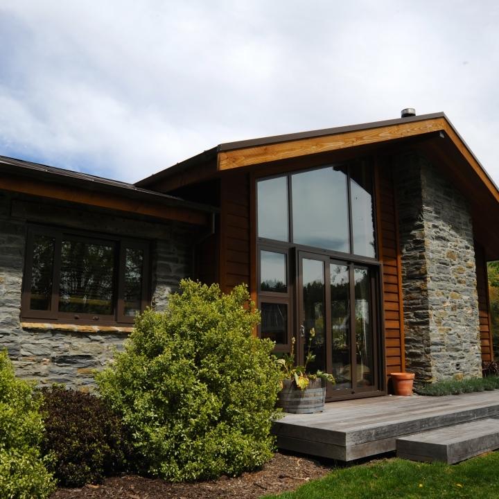 rustic stone with cedar